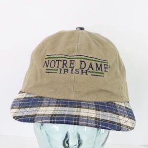 Vintage Notre Dame Spell Out Plaid Dad Hat Khaki